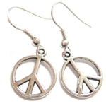Tibetan Silver Hippy Peace Sign Boho Bohemian Dangle Earrings