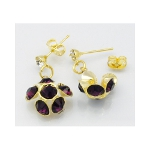 Elegant Gold Tone Amethyst Rhinestone Dangle Earrings