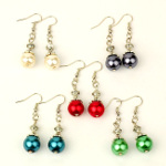 Mixed Lustrous Bead & Silver Tone Filigree Cap Dangle Earrings