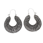 Vintage Silver Tone Tribal Beaded Filigree Saddlebag Earrings