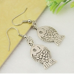 Tibetan Silver Fun Fish Design Dangle Earrings