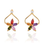 18K Gold Plate Retro Inspired Tri-Color Blossom CZ Earrings