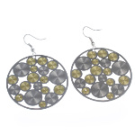 Retro 1960&#39s Mod Style Silver & Gold Radiant Circle Earrings