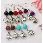 Mixed Retro Tibetan Silver Lady Bug & Glass Bead Earrings