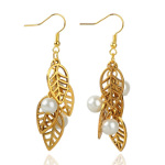 Gold Tone Leaf Silhouette & White Pearl Bead Dangle Earrings