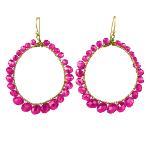 Designer Elly Preston Faceted Crystal Hoop Earrings Hot Pink