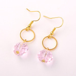 Bright Brass & Faceted Pink Crystal Drop Dangle Earrings
