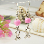 Breast Cancer Awareness Hope Ribbon Pink Glass Bead Earrings