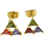 18K Gold Plate Art Deco Triangle CZ Stone Stud Earrings