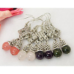 Mixed Tibetan Silver & Genuine Gemstone Bead Dangle Earrings