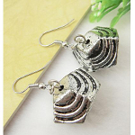 Lightweight Silver Tone CCB Bead Dangle Earrings Abstract Form