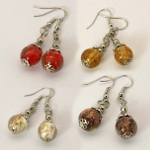 Mixed Silver Filigree Cap Cased Venetian Glass Dangle Earrings