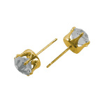 Gold Tone Brass 8mm Faceted Clear Crystal Earring Studs