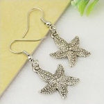 Tibetan Silver Star Fish Ocean Theme Dangle Earrings