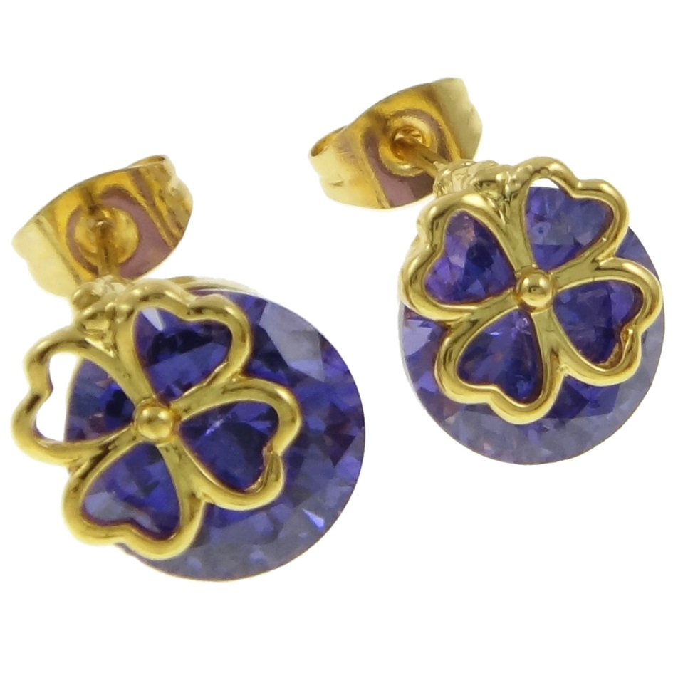 18K Gold Plate Purple CZ Stone Shamrock Overlay Stud Earrings