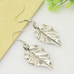 Silver Tone Natural Striated Leaf Dangle Earrings