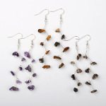 Mixed Gemstone Chip Silver Tone Dangle Earrings