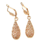 14K Rose Gold Plated Victorian Style Filigree Scroll Earrings
