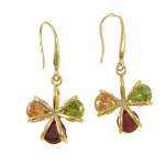 18K Gold Plate 1970's Retro Inspired Tri-Color CZ Earrings