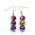 Non-Magnetic Iridescent Hematite Retro Style Dangle Earrings