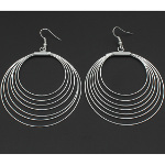Bright Silver Tone Concentric Circles Geometric Mod Earrings