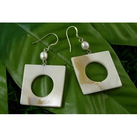 Genuine Lustrous White Shell Dangle Earrings ~ Square