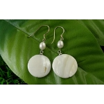 Genuine Lustrous White Shell Dangle Earrings ~ Round