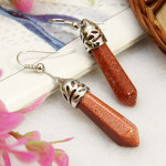 Reticulated Silver Tone Dangle Earrings ~ Goldstone