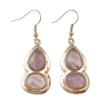 Gold Tone Dangle Earrings Genuine Amethyst Inlay Cabochons