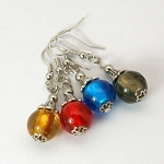 Mixed Tibetan Silver & Translucent Glass Bead Dangle Earrings