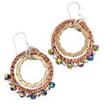 Designer Elly Preston Carded Boho Bead Lola Earrings AB Purple