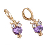 18K Gold Plate Figural Owl & Purple CZ Stone Dangle Earrings