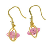 18K Gold Plate Art Deco Dangle Earrings ~ Pink CZ Stone