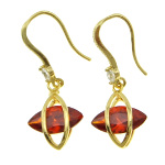 18K Gold Plate Art Deco Dangle Earrings ~ Ruby CZ Stone