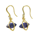 18K Gold Plate Art Deco Dangle Earrings ~ Amethyst CZ Stone