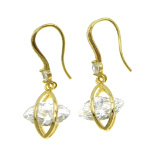 18K Gold Plate Art Deco Dangle Earrings ~ White CZ Stone