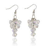 Iridescent Aurora Borealis Faceted Crystal Bead Cluster Earrings