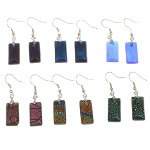 Mixed Iridescent Dichroic Art Glass Rectangular Earrings