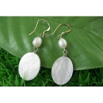 Lustrous White Shell & Pearl Bead Geometric Dangle Earrings