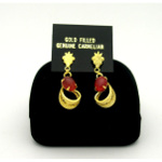 New Old Stock 1970's Gold Filled Genuine Carnelian Cab Earrin