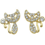 Figural Cat Gold Tone & White Czech Rhinestone Earrings
