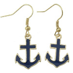Dark Navy Blue Enamel on Gold Tone Anchor Earrings Maritime