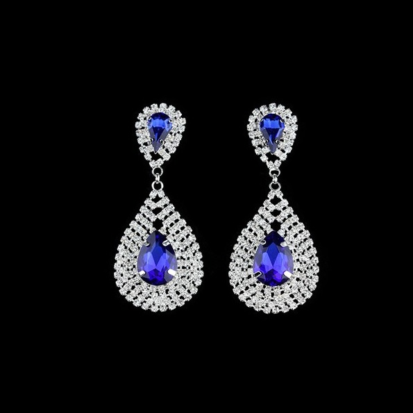 Large Faceted Crystal & Rhinestone Bling Earrings ~ Blue