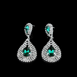 Large Faceted Crystal & Rhinestone Bling Earrings ~ Green