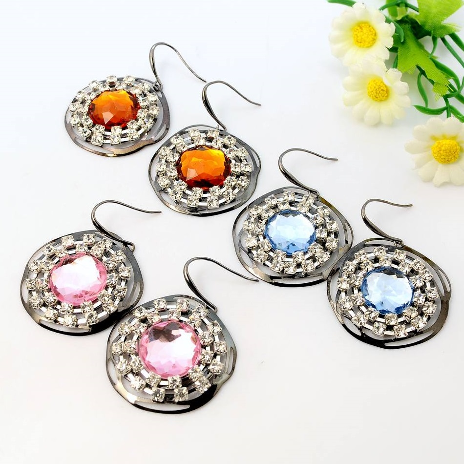 Mixed Pewter Tone Large Rhinestone Bling Dangle Earrings