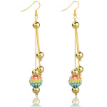 Gold Tone AB Rhinestone Chandelier Earrings ~ Rainbow