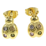18K Gold Plate Figural Lady Bug Beetle Stud Earrings
