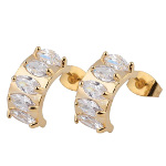 18K Gold Plate Art Deco Tiffany Set White CZ Baguette Earrings