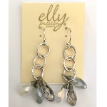 Designer Elly Preston Silver Tone Faceted Crystal Earrings