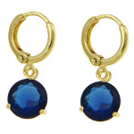 18K Gold Plate Large Blue Faceted CZ Stone Dangle Earrings